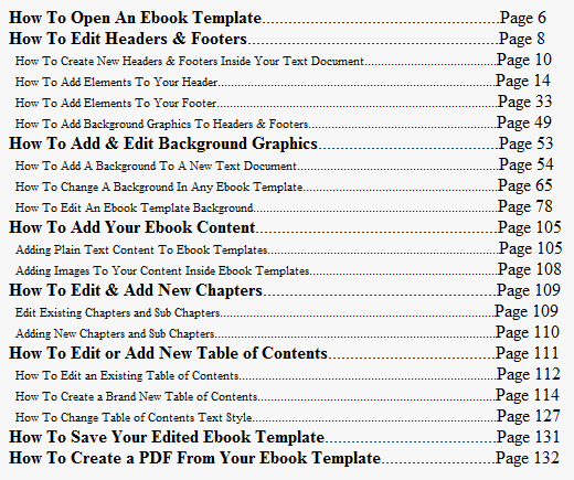 microsoft office table of contents template - pdf ebook templates template collection for open office